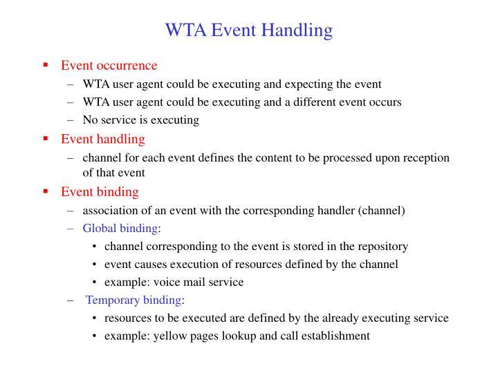 WTA Event Handling