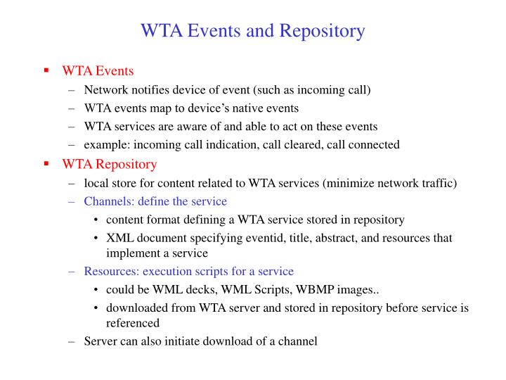 WTA Events and Repository