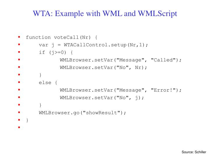 WTA: Example with WML and WMLScript