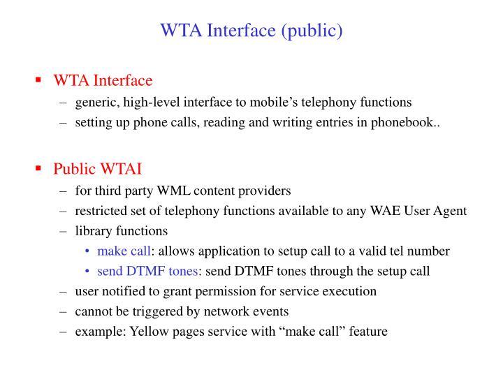 WTA Interface (public)