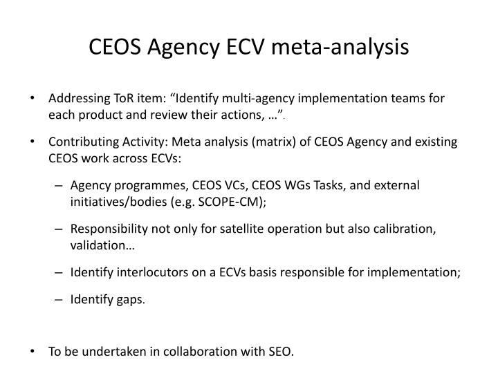 CEOS Agency ECV meta-analysis