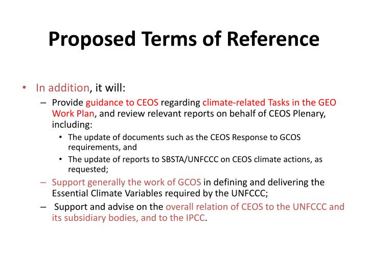 Proposed Terms of Reference