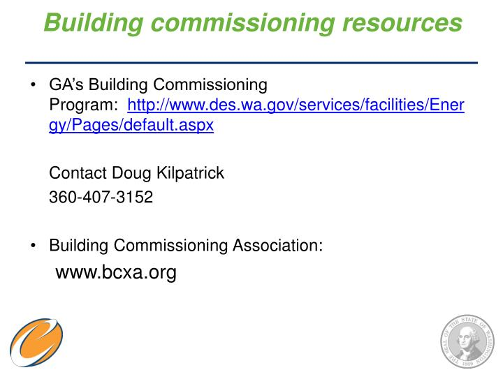 Building commissioning resources