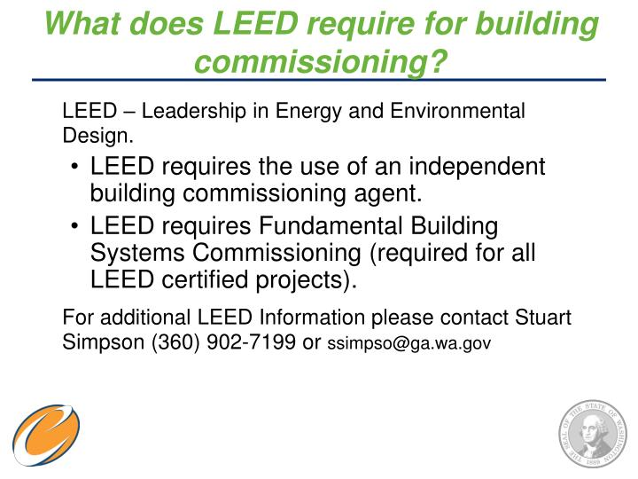 What does LEED require for building commissioning?