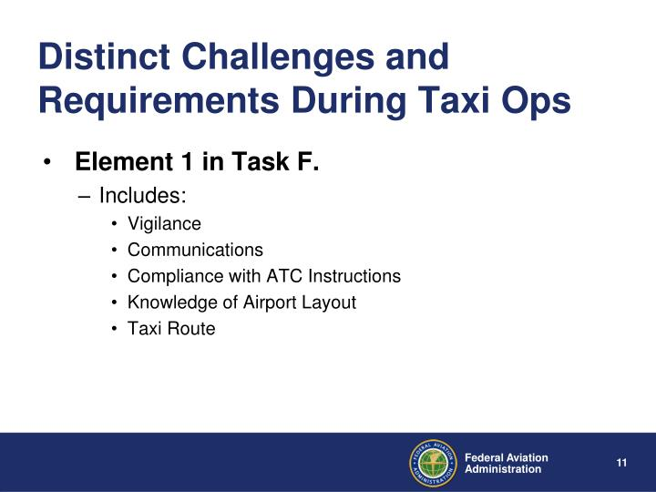 Distinct Challenges and Requirements During Taxi Ops