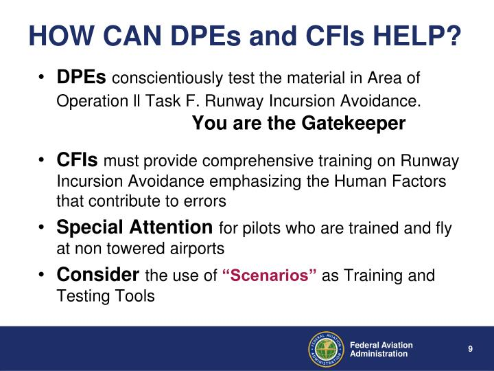 HOW CAN DPEs and CFIs HELP?