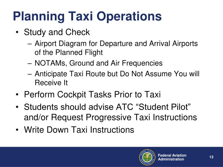 Planning Taxi Operations