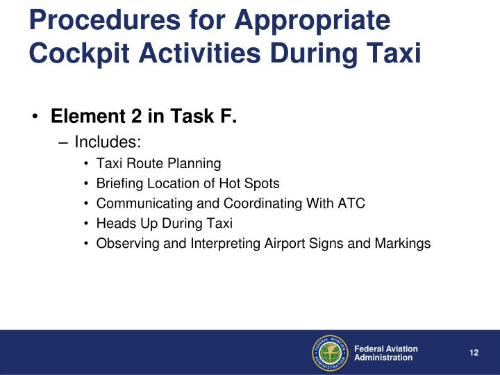 Procedures for Appropriate Cockpit Activities During Taxi