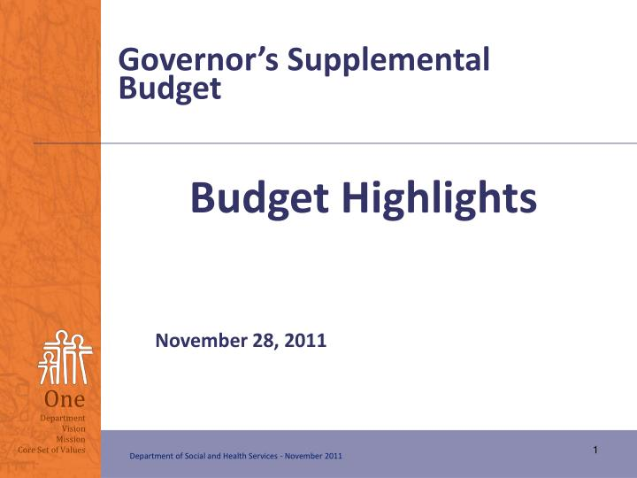 Governor's Supplemental Budget