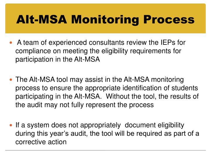 Alt-MSA Monitoring Process