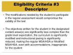 eligibility criteria 3 descriptor