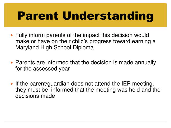 Parent Understanding