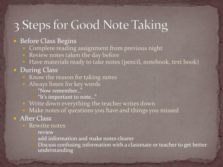 3 Steps for Good Note Taking