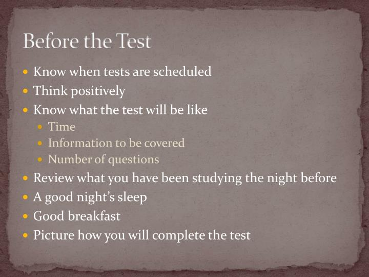 Before the Test