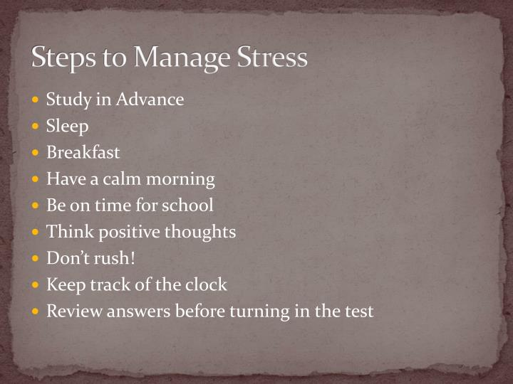 Steps to Manage Stress