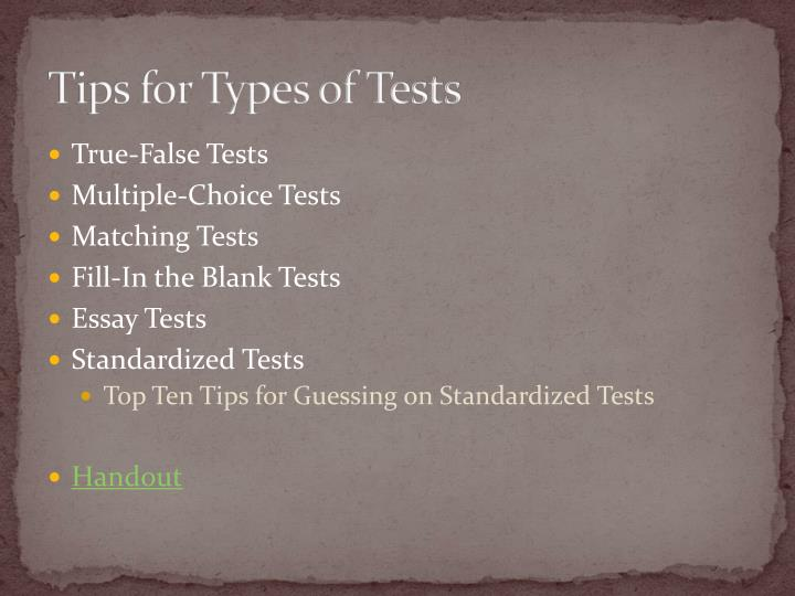 Tips for Types of Tests