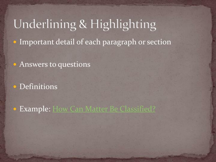 Underlining & Highlighting