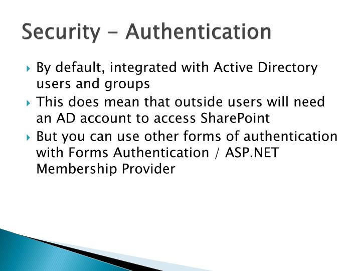 Security - Authentication