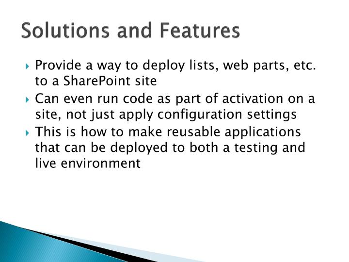 Solutions and Features