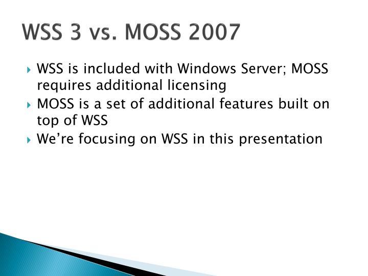 WSS 3 vs. MOSS 2007