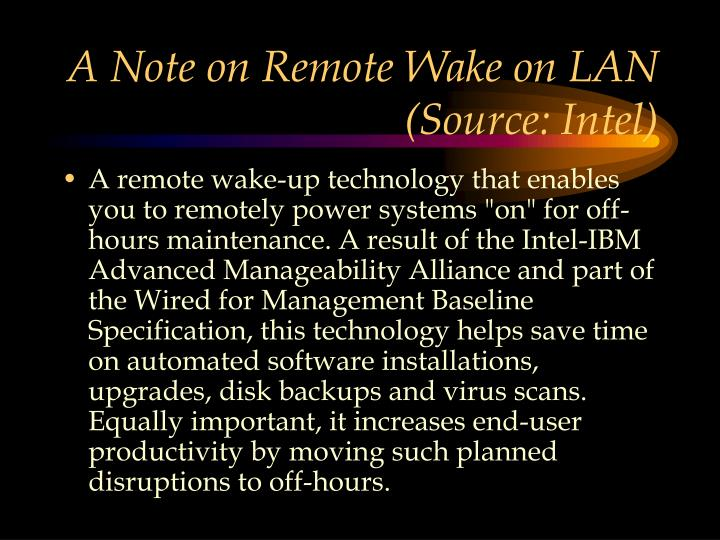 A Note on Remote Wake on LAN