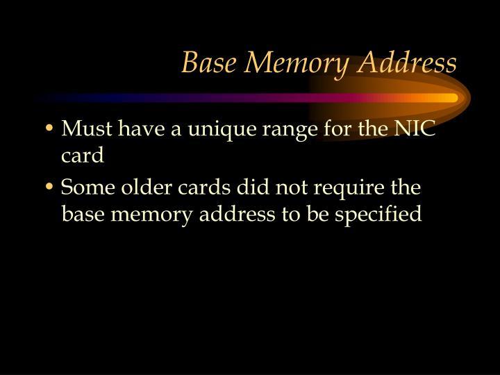 Base Memory Address