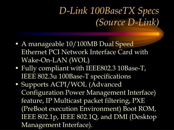 D-Link 100BaseTX Specs