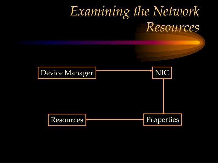 Examining the Network Resources