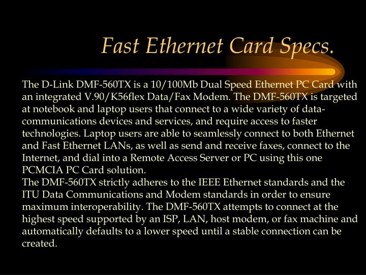 Fast Ethernet Card Specs.