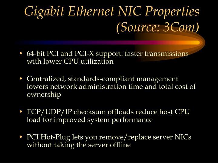Gigabit Ethernet NIC Properties