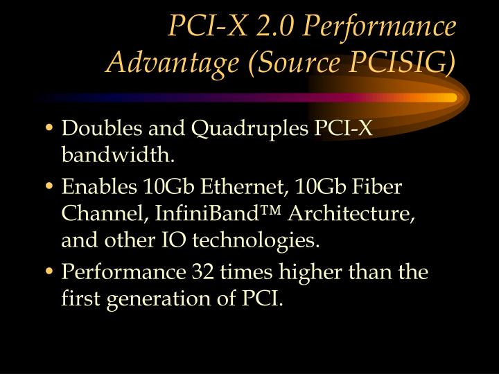 PCI-X 2.0 Performance Advantage (Source PCISIG)