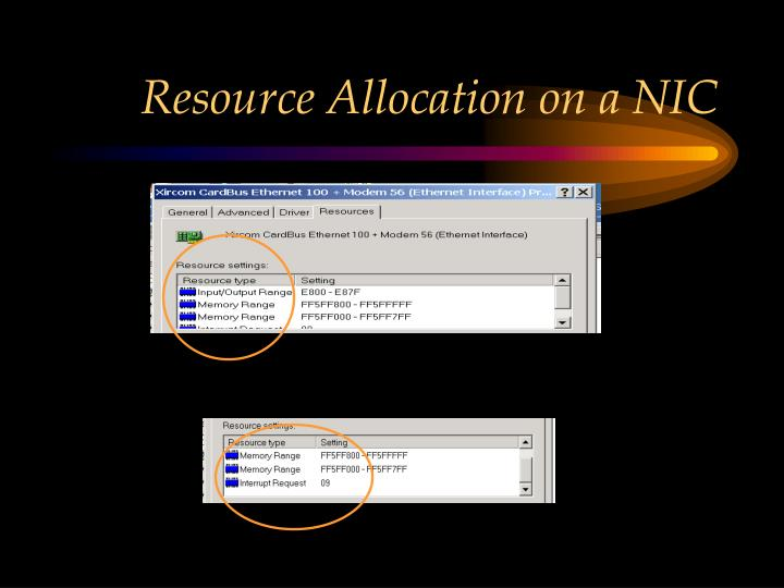 Resource Allocation on a NIC