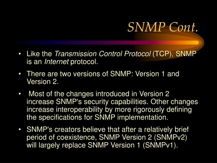 SNMP Cont.