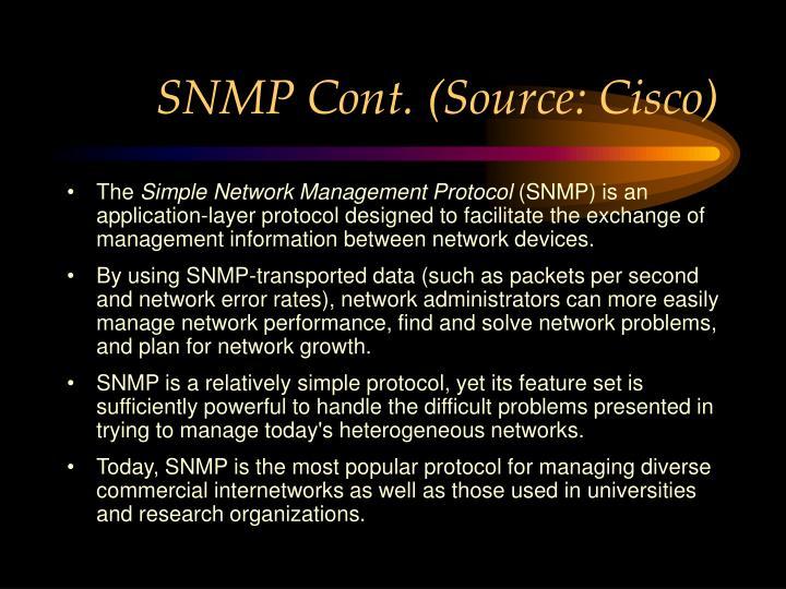 SNMP Cont. (Source: Cisco)