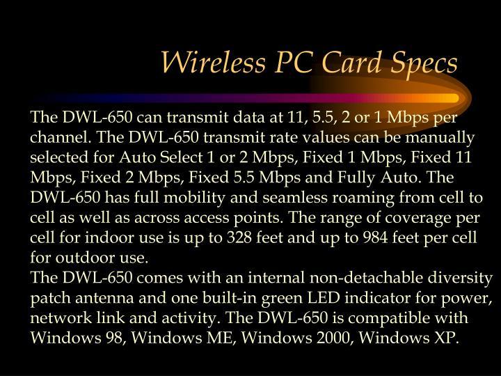 Wireless PC Card Specs
