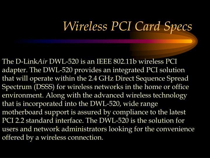 Wireless PCI Card Specs