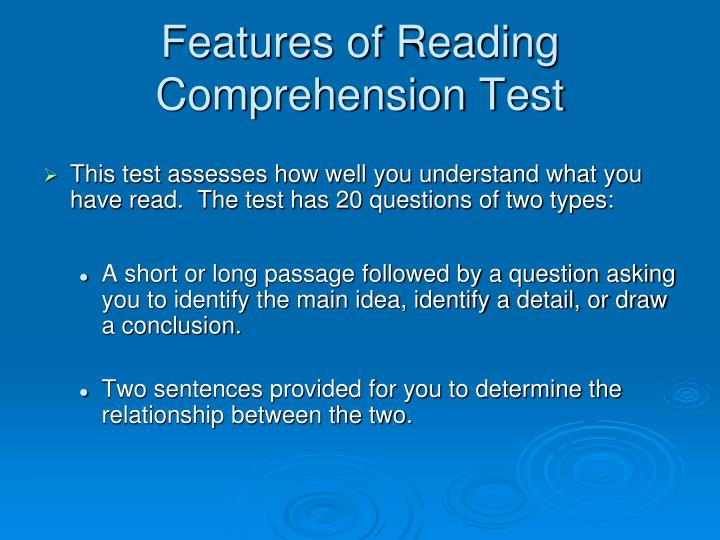 Features of Reading Comprehension Test