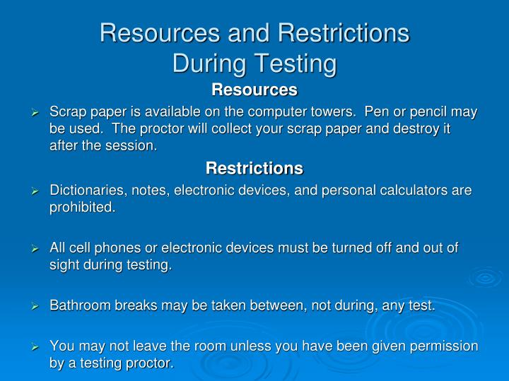 Resources and Restrictions