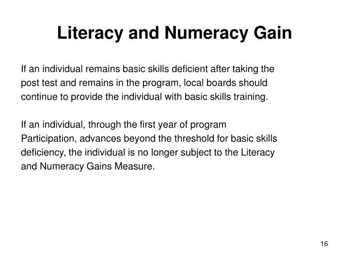 Literacy and Numeracy Gain