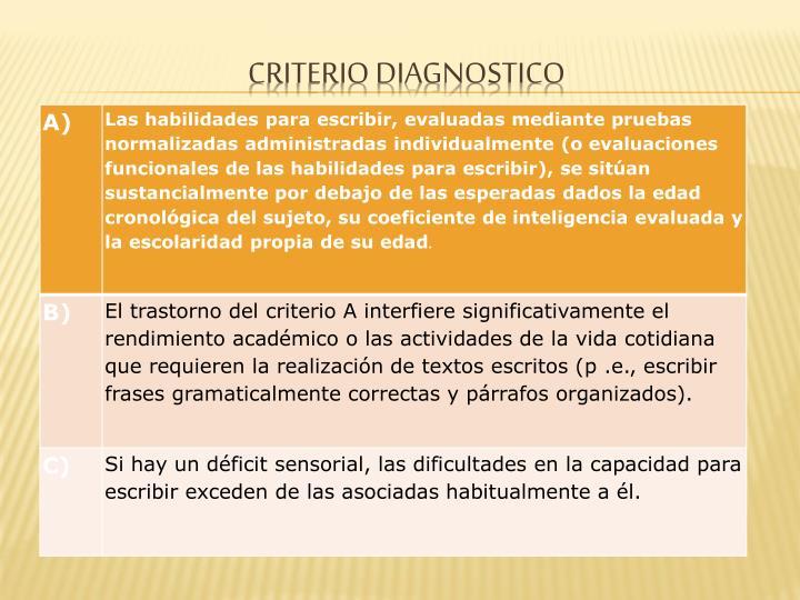 CRITERIO DIAGNOSTICO