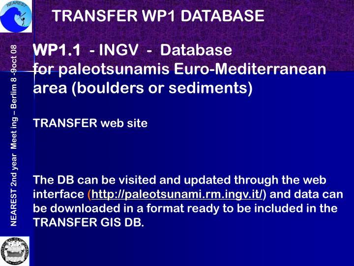 TRANSFER WP1 DATABASE