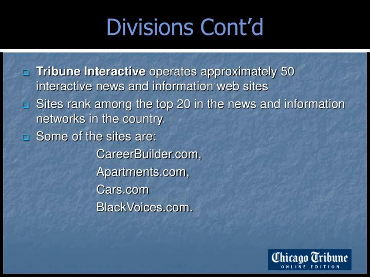 Divisions Cont'd