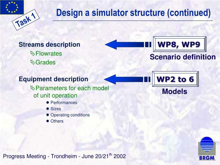 Design a simulator structure (continued)