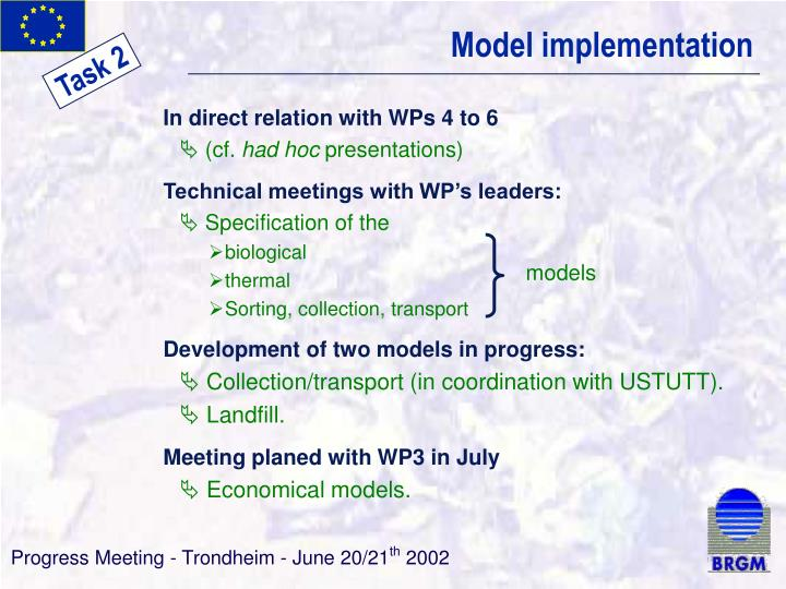 Model implementation