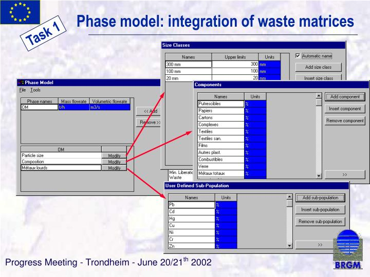 Phase model: integration of waste matrices