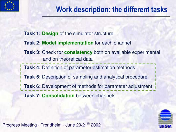 Work description: the different tasks