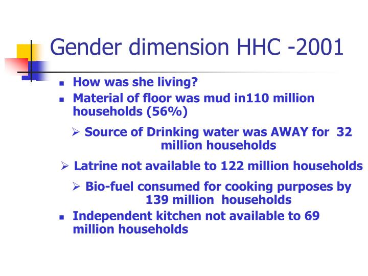 Gender dimension HHC -2001