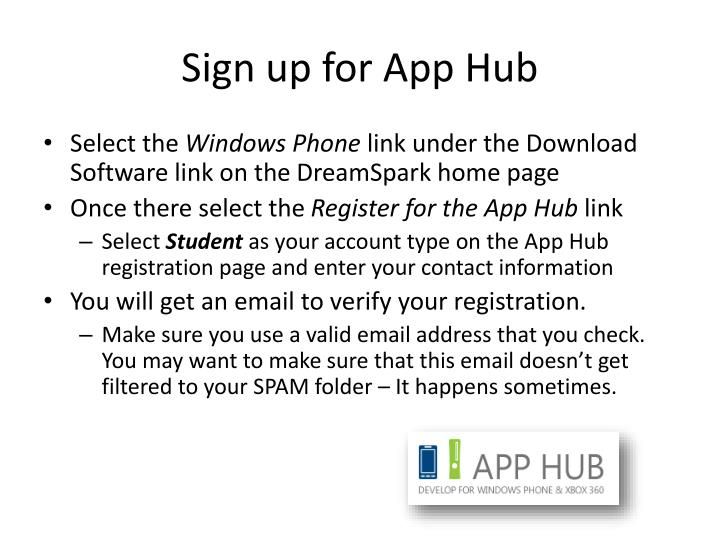 Sign up for App Hub