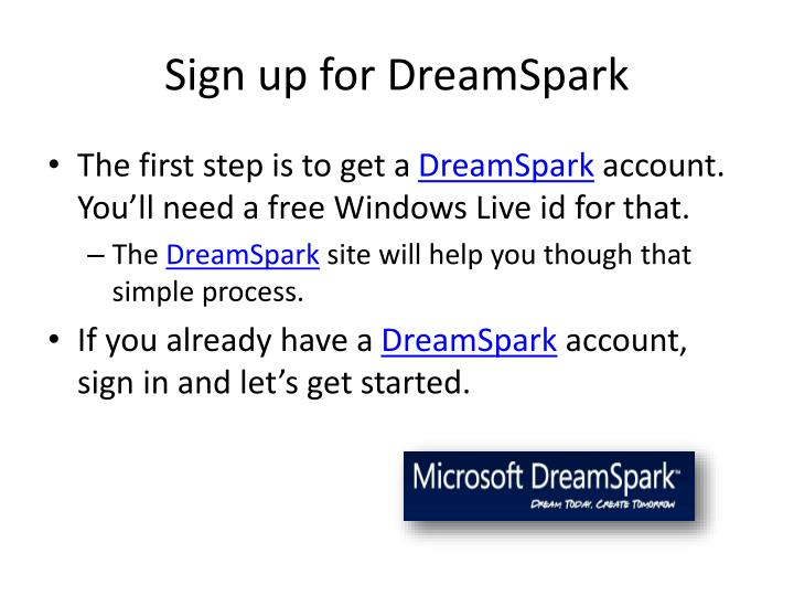 Sign up for DreamSpark