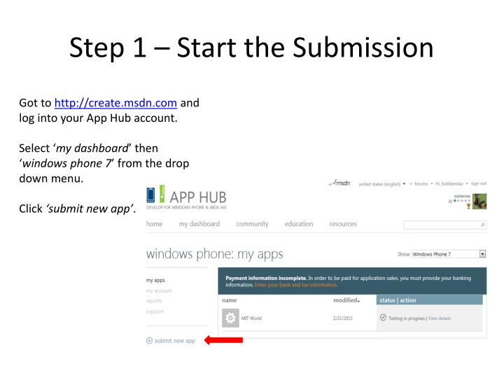 Step 1 – Start the Submission